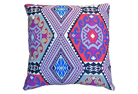 Bold Embroidered 22x22 Pillow, Purple