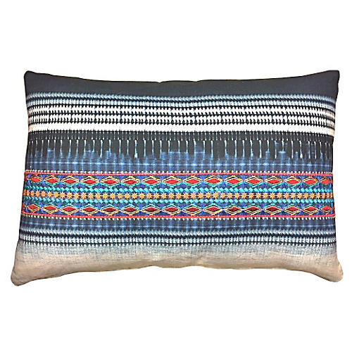 Koto Embroidered 16x24 Pillow, Indigo