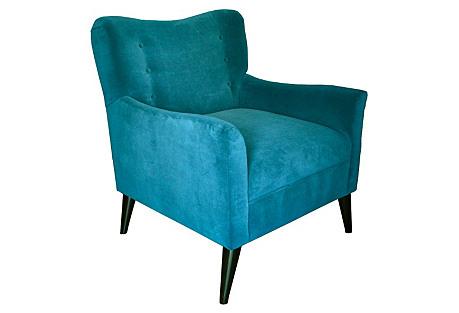 Tomas Velvet Chair, Teal Velvet