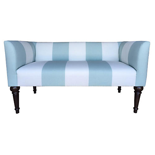 "Catherine 48"" Bench, Aqua Stripe"