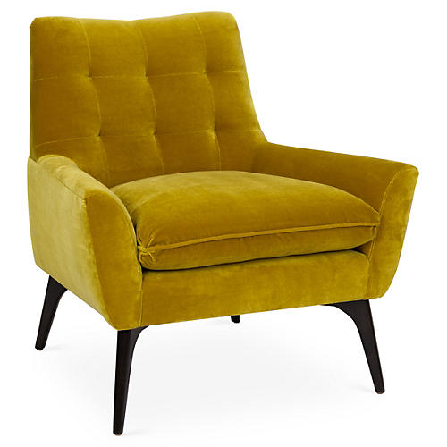 Lawrence Accent Chair, Citrine Velvet