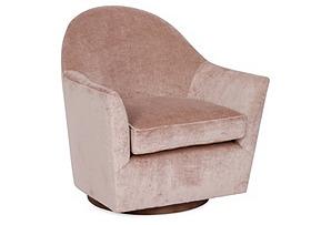 Ainsley Swivel Chair, Blush Linen Velvet