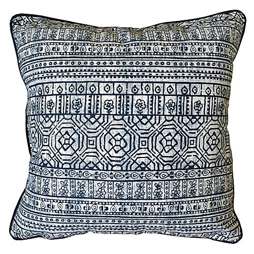 Sabrina Outdoor Pillow, Indigo Sunbrella