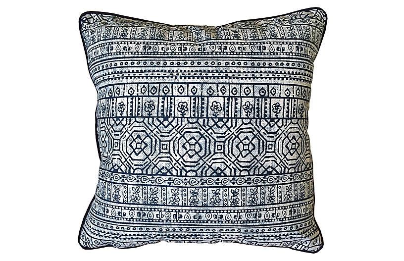 Sabrina Outdoor Pillow, Indigo Sunbrella