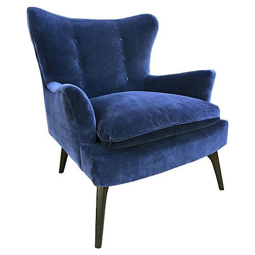 Sonja Accent Chair, Navy Velvet