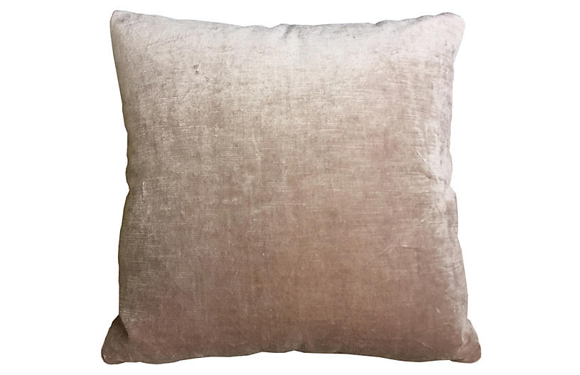Lilly 20x20 Linen-Velvet Pillow, Blush Pink