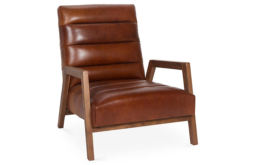 Gracie Channel Chair, Brown Leather