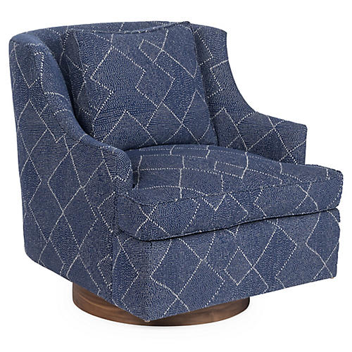 Palisades Swivel Glider Chair, Indigo