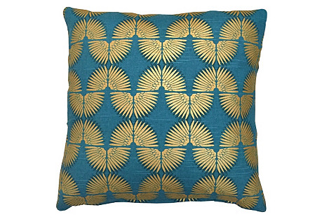 Deco 20x20 Cotton Pillow, Peacock/Gold