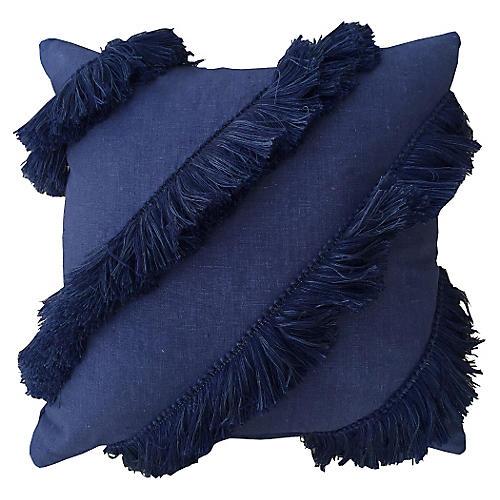 Fringe 20x20 Linen Pillow, Blue