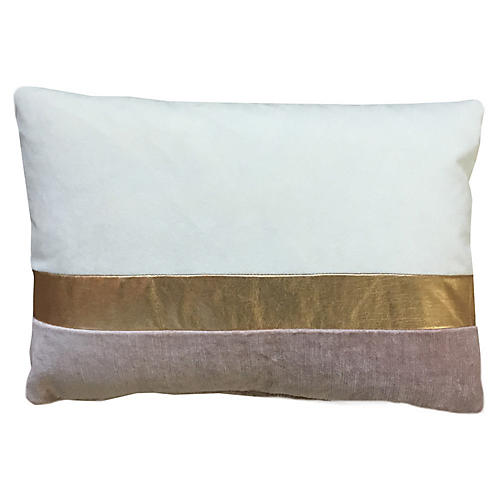 Color-Block 14x20 Lumbar Pillow, Ivory