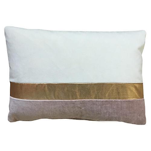 Color-Block 14x20 Lumbar Pillow, Ivory