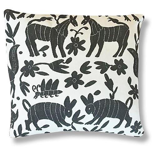 Pina Otomi 22x22 Pillow, Ash