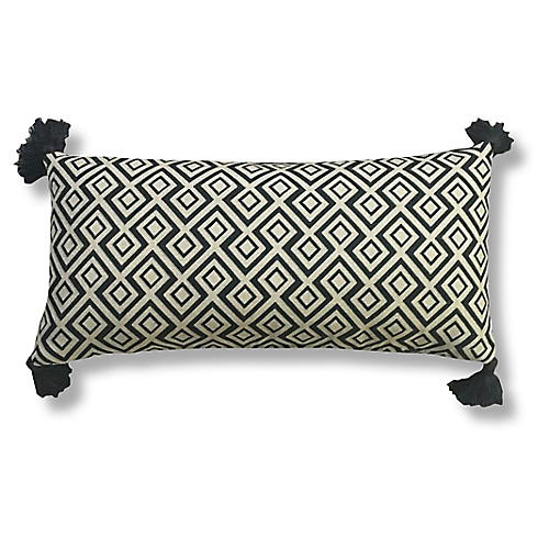 Songo 14x28 Tassel Pillow, Black