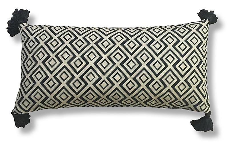 Songo 14x28 Tassel Pillow, Black