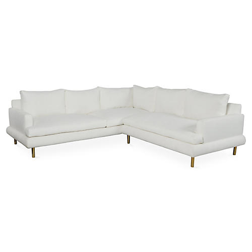 Somerset Sectional, Ivory Crypton