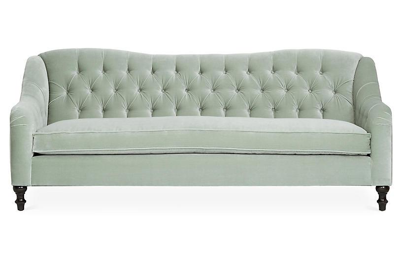 Waverly Tufted Sofa, Seafoam Velvet