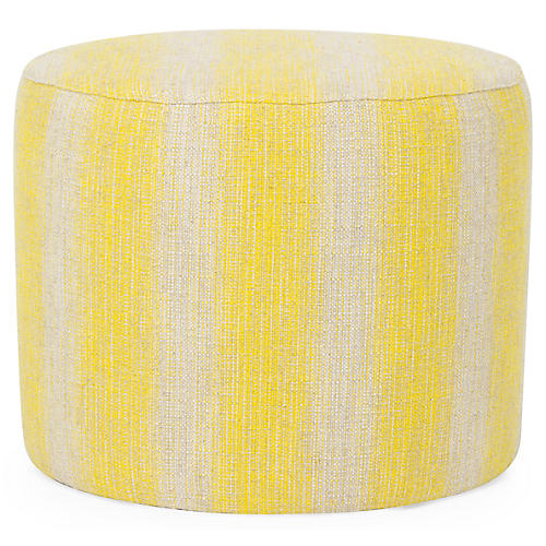 Roland Ottoman, Yellow/Natural Linen Linen
