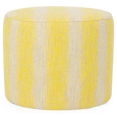 Roland Ottoman, Yellow/Natural Linen Linen