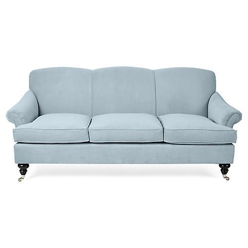 Joplin Sofa, Sky Blue Velvet