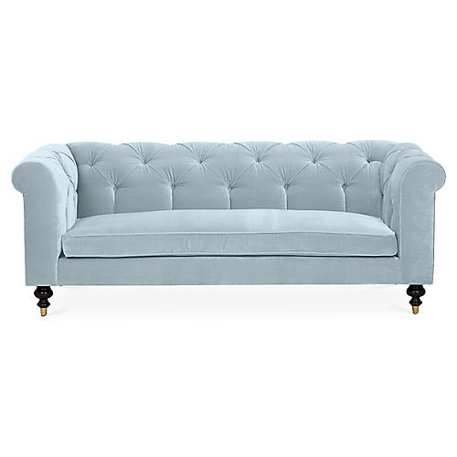 Dexter Tufted Sofa, Sky Blue Velvet