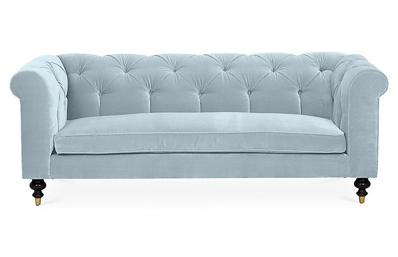 Dexter Tufted Sofa, Sky Blue Velvet