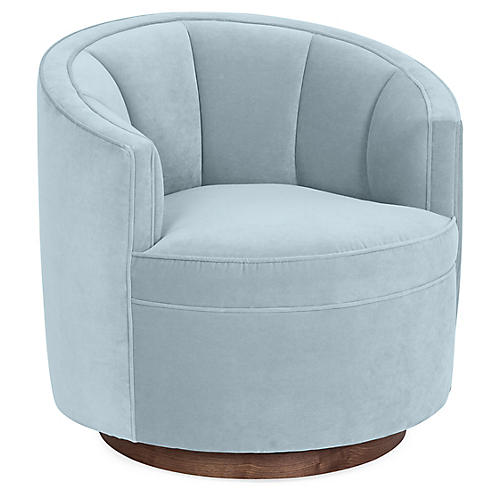 Jackie Swivel Club Chair, Sky Blue Velvet