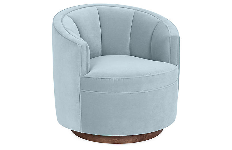 Jackie Swivel Chair, Sky Blue Velvet