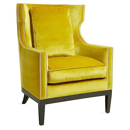 Roswell Wingback Chair, Citrine Velvet