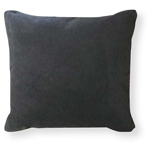 Velvet 20x20 Outdoor Pillow, Charcoal