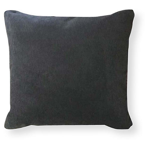 Velvet 20x20 Outdoor Pillow, Charcoal