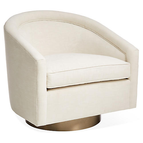 Benson Swivel Club Chair, Ivory Crypton