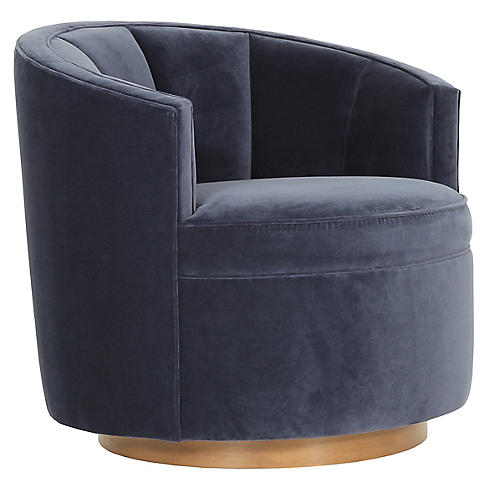 Jackie Swivel Chair, Navy Velvet