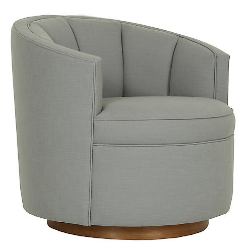 Jackie Swivel Club Chair, Gray Crypton