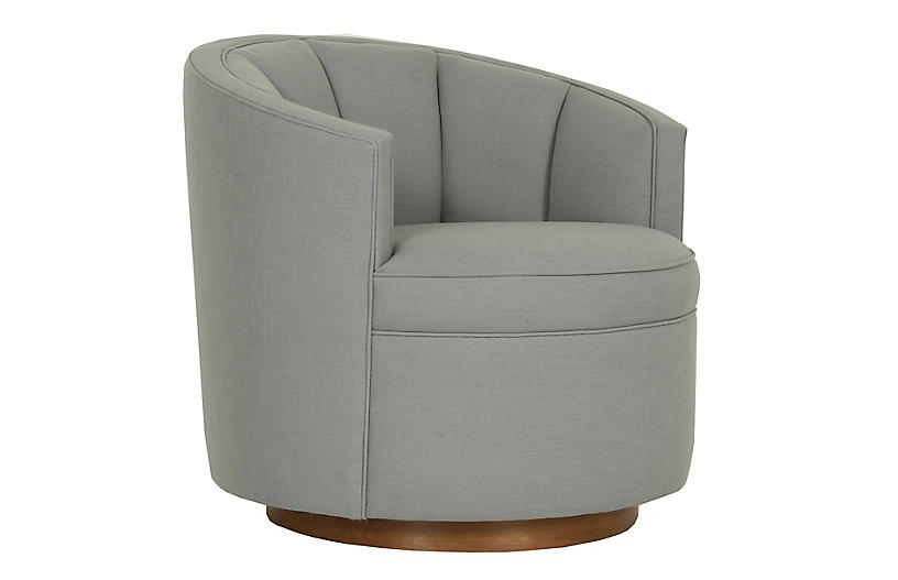 Jackie Swivel Chair, Gray Crypton