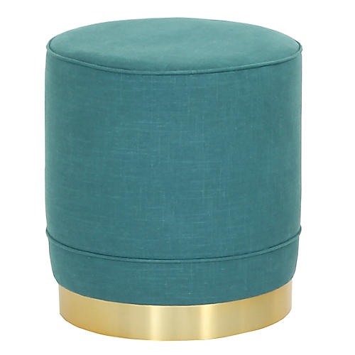 Piper Stool, Teal Linen
