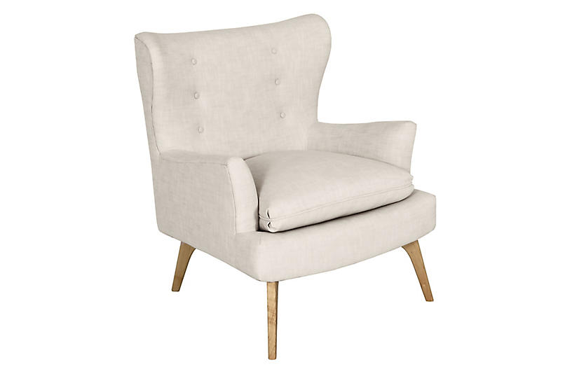 Sonja Accent Chair, Ivory Crypton