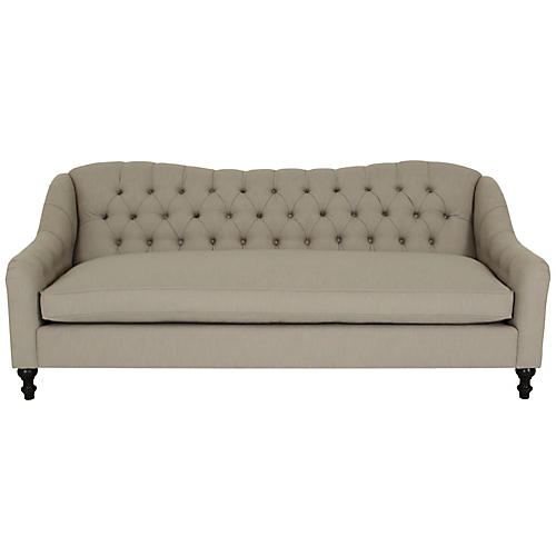 Waverly Tufted Sofa, Greige Crypton