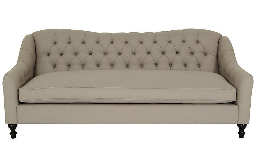 Waverly Tufted Sofa, Greige Crypton