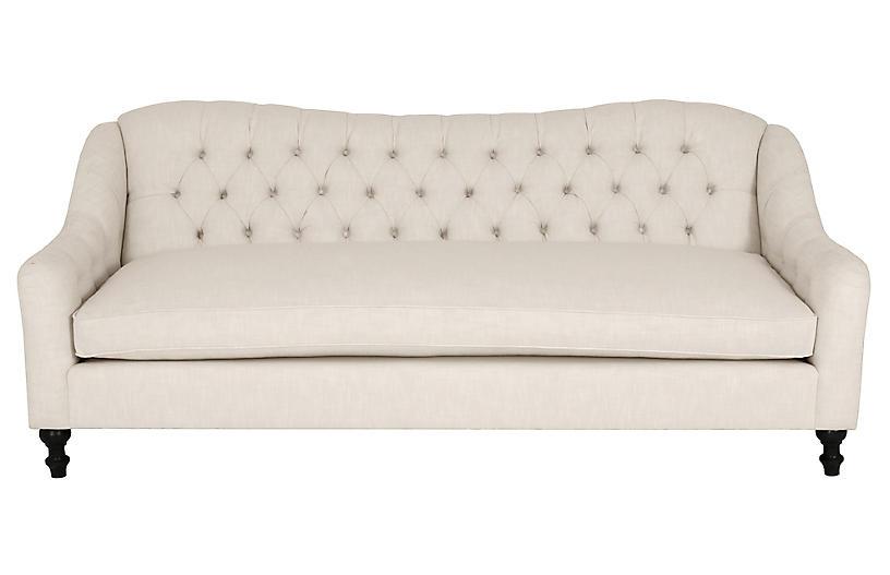 Waverly Tufted Sofa, Ivory Crypton