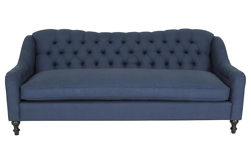 Waverly Tufted Sofa, Navy Linen
