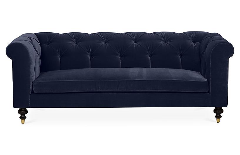 Dexter Tufted Sofa, Navy Velvet