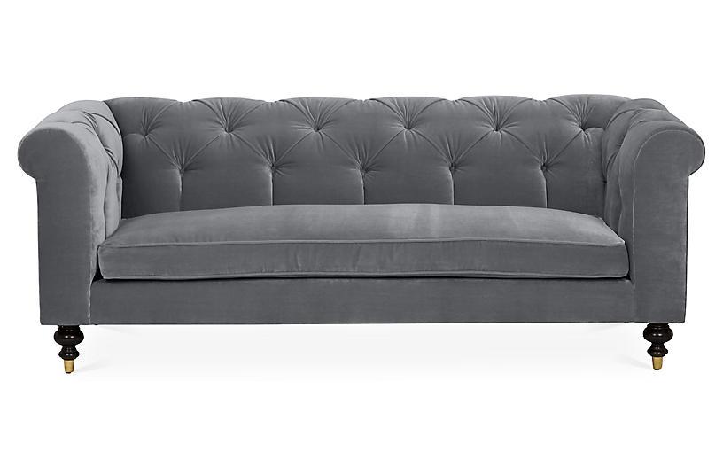Dexter Tufted Sofa, Charcoal Velvet