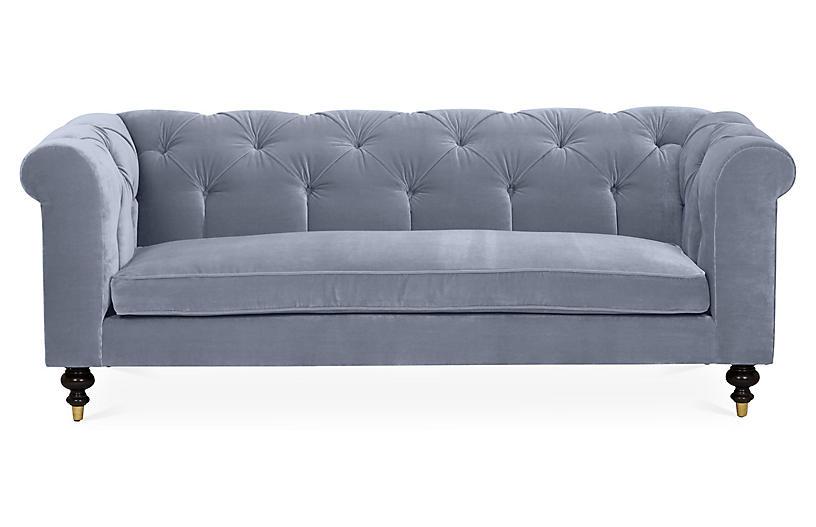 Dexter Tufted Sofa, Delft Blue Velvet