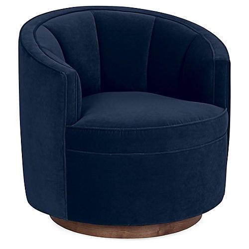 Jackie Swivel Club Chair, Indigo Velvet