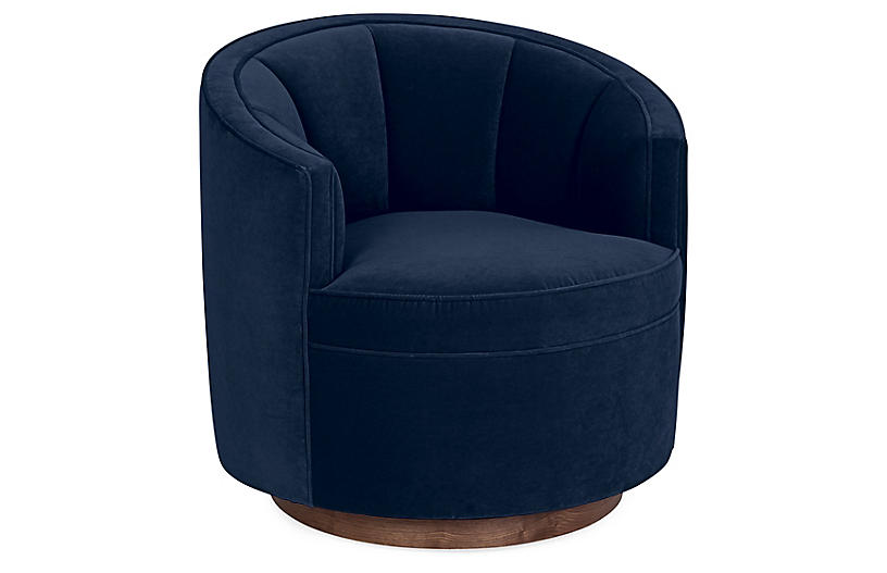 Jackie Swivel Chair, Indigo Velvet