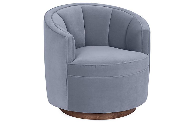 Jackie Swivel Chair, Delft Blue Velvet