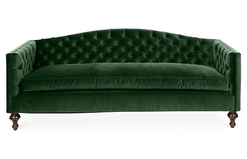 Victoria Tufted Sofa, Emerald Velvet