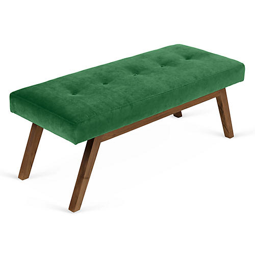 Bleeker Bench, Emerald Velvet