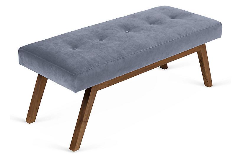 Tremendous Bleeker Bench Delft Blue Velvet Bralicious Painted Fabric Chair Ideas Braliciousco